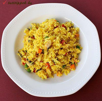 Zöldséges és currys sült rizs tojással