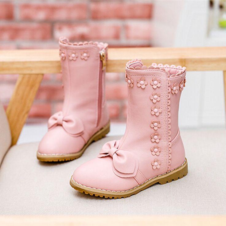 2016 новый зимний мода дети обувь дети сапоги и ботинки с бантом девушок цветка хлопка-ватник обувь снегоступы