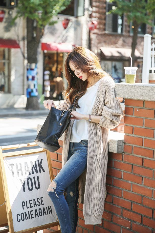 nice Fitted Long Knit Cardigan by http://www.redfashiontrends.us/korean-fashion/fitted-long-knit-cardigan/