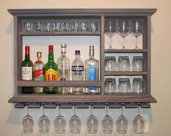 mini bar weathered gray wine rack 3 39 x2 39 wall mounted liquor cabinet minimalist style ideas. Black Bedroom Furniture Sets. Home Design Ideas