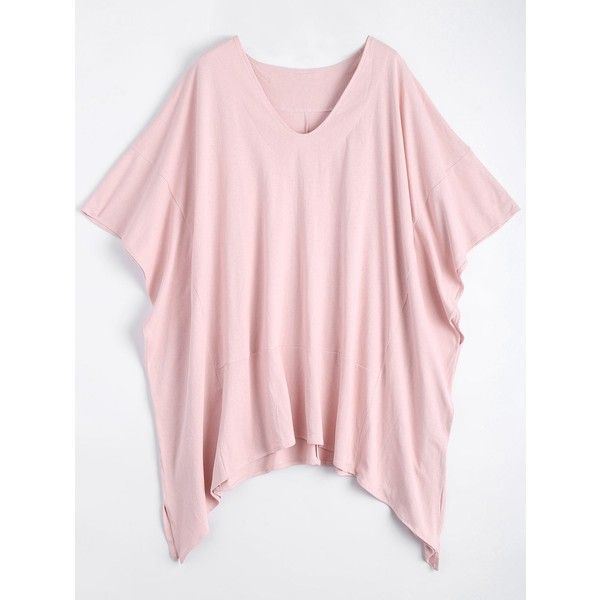 Plus Size V Neck Batwing Sleeve Slit Swing T-shirt Pink ($19) ❤ liked on Polyvore featuring tops, t-shirts, women's plus t shirts, plus size womens tees, pink tee, women's plus size graphic tees and pink v neck t shirt