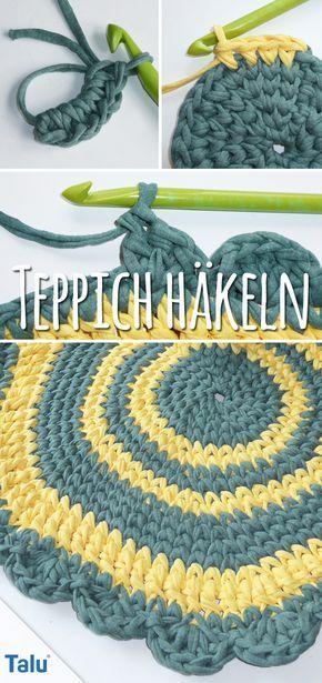 Teppich Häkeln Anleitung Runder Teppich Aus Textilgarn Pinterest