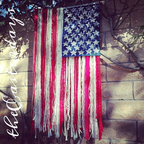 RUSTIC American Flag with yarn ribbon lace & by th…