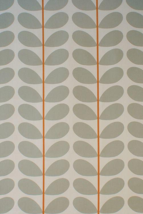 Orla Kiely Two Colour Stem Warm Grey Curtain Blind Upholstery Fabric - Two Colour Stem Warm Grey 1