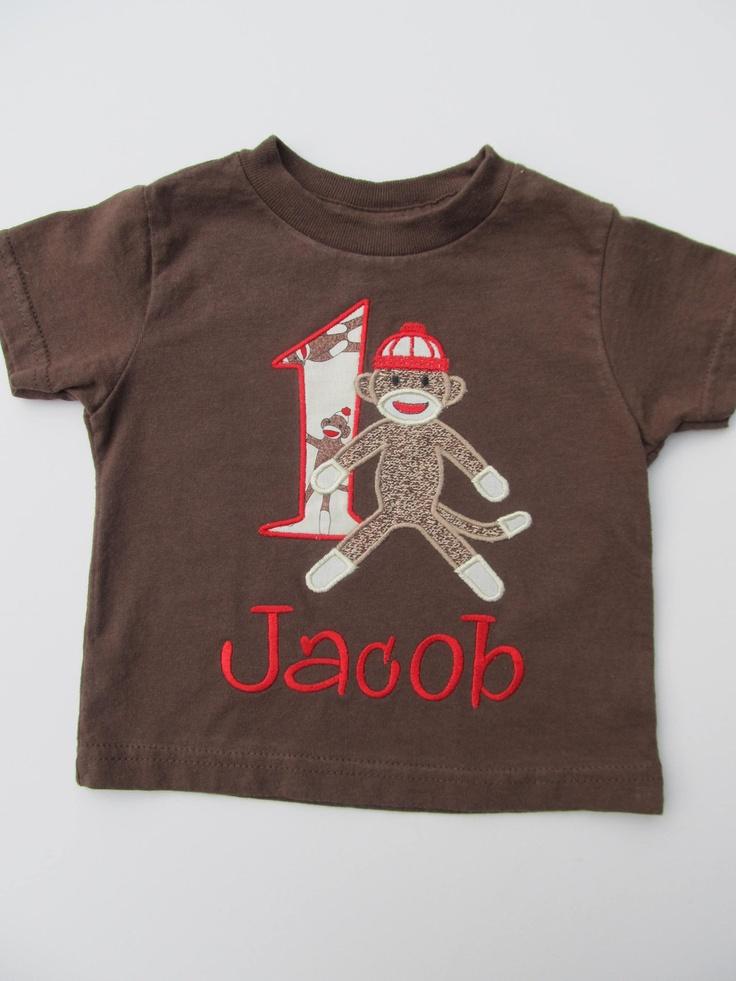 Personalized Sock Monkey Birthday Shirt- Sock Monkey Birthday Shirt-  Appliqued Sock Monkey Birthday. $23.00, via Etsy.