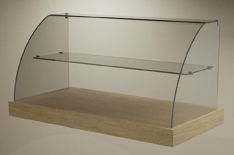 Curved Glass Ambient Display Wood Base