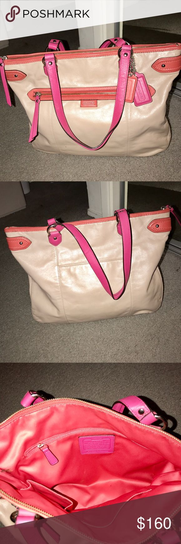 Authentic coach tote bag Like new used one time no damage no stain gray/tan and pink orange color Coach Bags Totes
