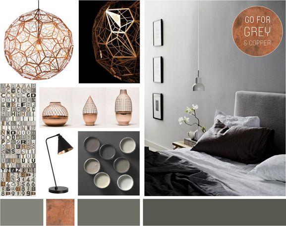 Schlafzimmer Grau mit Akzenten Kupfer