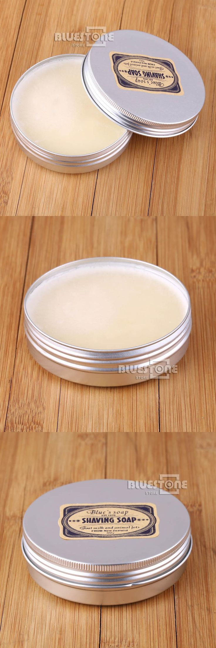 "[Visit to Buy] Mens Shaving Goat""S Milk Soap In Case 100g 83mm Round Large Barber Shaving Tool #Advertisement"