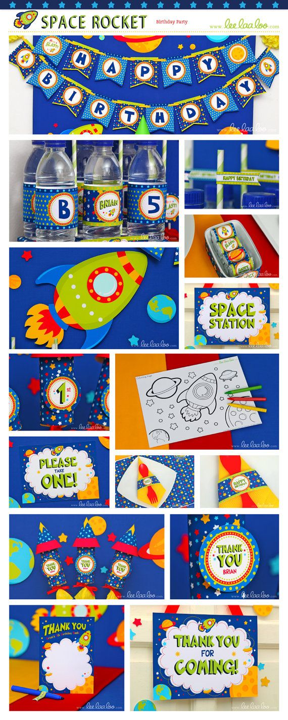 Space Rocket Birthday Party Invitation Personalized by LeeLaaLoo, $12.00