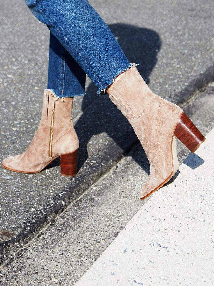 Breakers Heel Boot | Sleek suede boot featuring a rounded toe design and chunky block heel. Hits at the mid-calf. Hidden elastic at the leg for a comfortable fit and exposed side zipper for an easy on-off.