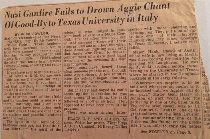 """Aggie Muster in Italy during World War II. The clip includes this quote from Maj. Gen. Harry H. Johnson, Class of 1917: """"Wherever an enemy is to be knocked out, we Aggies will do our part."""""""
