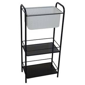 Instantly increase bathroom or bedroom storage space with the Room Essentials Storage Tower with Removable Tote. Great for dormitories or bathrooms with limited storage options, this storage tower includes two vented shelves and a removable vented basket with handle, that doubles as a shower caddy. Steel rails hold the pieces in place for a sleek touch.