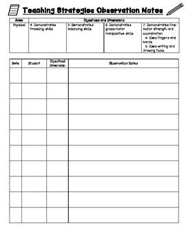 Use this sheet for recording Teaching Strategies Gold observation notes for the Physical area. Meant to be used for multiple students in a preschool/early childhood classroom using Teaching Strategies Gold.