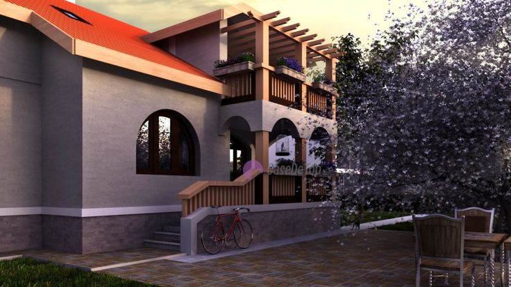 Locuinta parter + mansarda-  Detaliu terasa acoperita    House with a classic attic design - View with the terrace access  