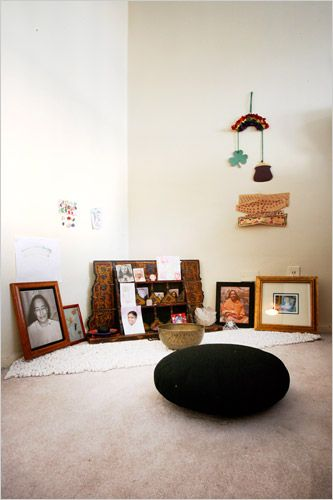 A home meditation corner can be very simple, little more than a candle, incense, and pictures to remind you of inspiring people and places.