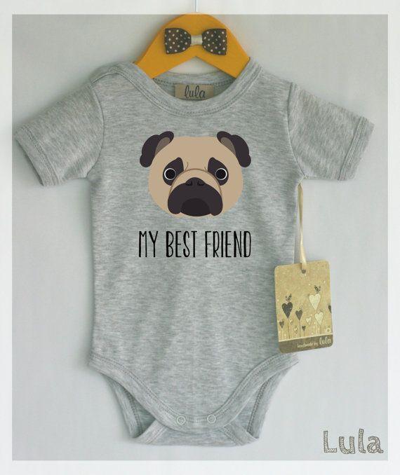 Mops Babykleidung. Hund Baby bester Freund drucken. Niedliche Hundebabykleidung. Mit oder ohne Text. Benutzerdefinierter Text – Baby Clothes