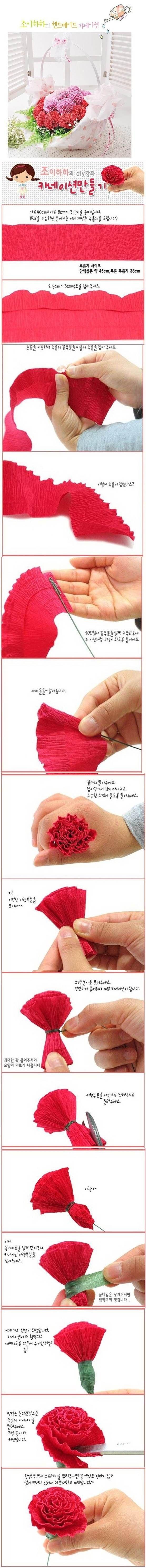 DIY Beautiful Crepe Paper Carnation | iCreativeIdeas.com LIKE Us on Facebook == https://www.facebook.com/icreativeideas