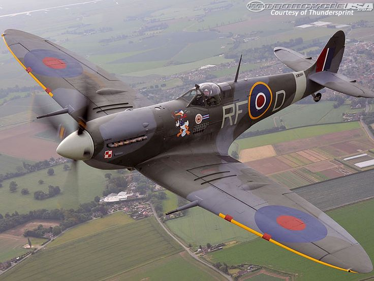 spitfire airplane. far right political group britain first is promoting its views with a picture of polish spitfire airplane f