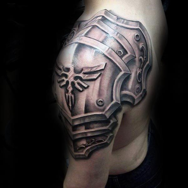 Cool Male Armor Plate Arm Tattoos