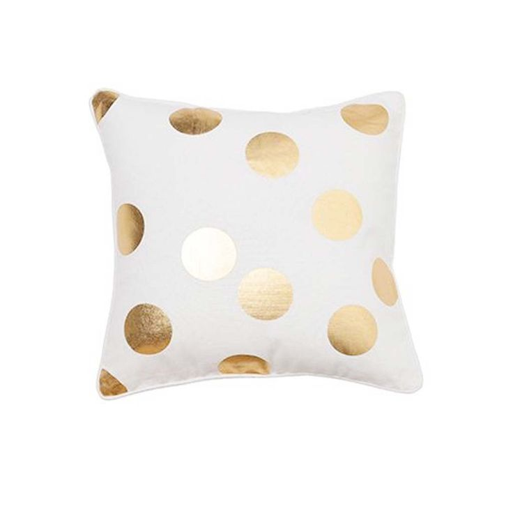 Gold Foil Polka Dot Cushion