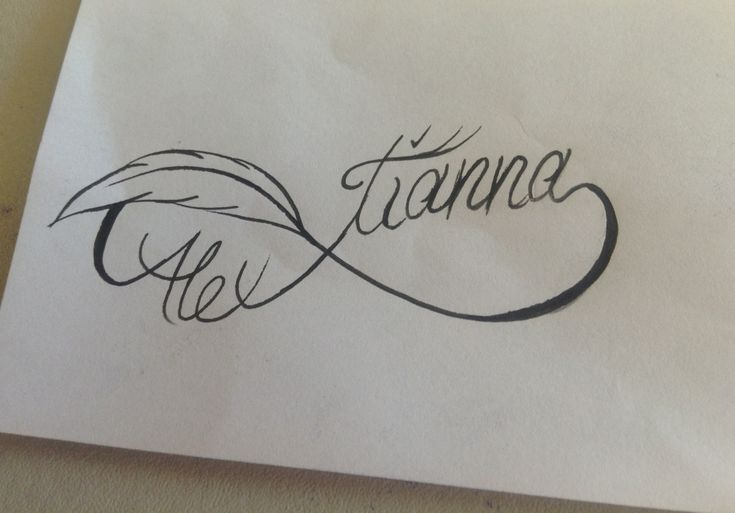 Infinity/ feather / kids names tattoo. Minus the feather. Add the heart instead.