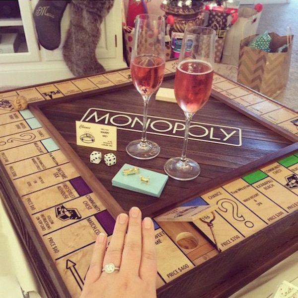 Adorable custom Monopoly board designed with places special to the couple. Proposal via Chance card :)