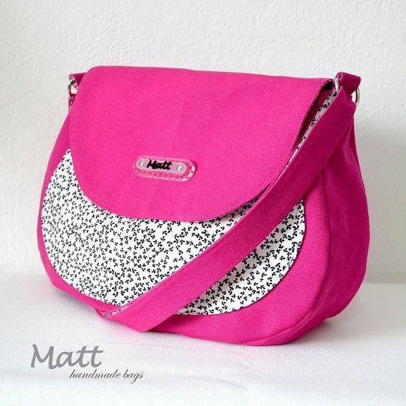 Fuchsia messenger canvas bag, Pink Cross body bag, full lining bag, black & white flower accent, fashion bag, everyday bag, magnetic closure...