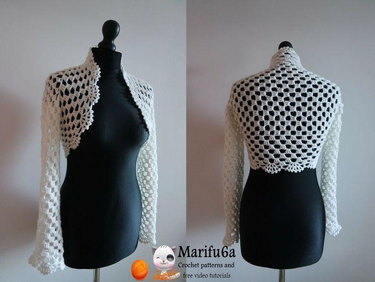 How to crochet bridal bolero jacket for beginners free pattern tutorial ...