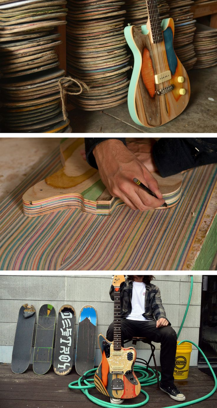 Prisma Guitars Are Made from Old Skateboards Good for knife handle, diy cigar box guitars etc...