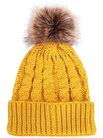 4dd3da5c2a4 Livingston Women s Winter Soft Knitted Beanie Hat With Faux Fur Pom Pom  Review