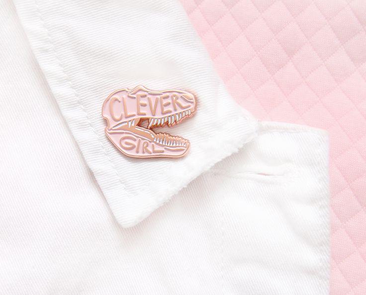 Clever girl enamel lapel pin