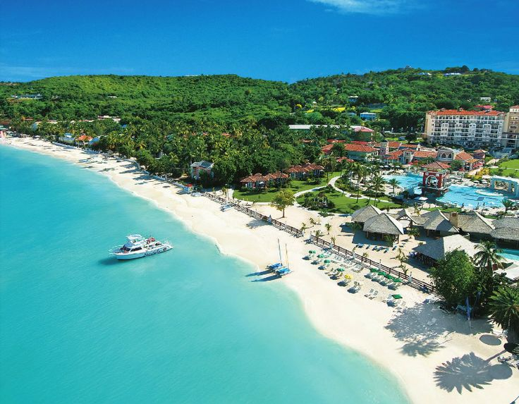 Dickenson Bay, Antigua - This pic shows Sandals Antigua in the forefront - Rex Halcyon Hotel is in the top left. I have walked this bay from Halcyon to Buccaneer Beach many a time in my lifetime ❤❤