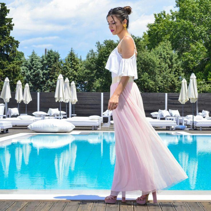 #top #swimwear #maxi #skirt #tulle
