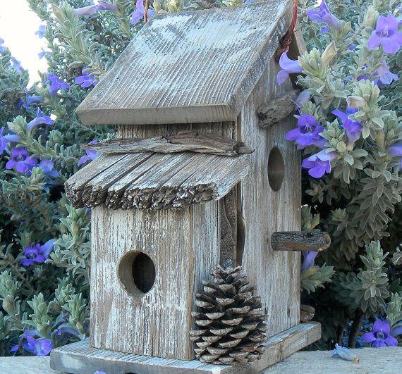 Bird House Rustic Duplex 350 by Forthebirdsandmore on Etsy, $34.95