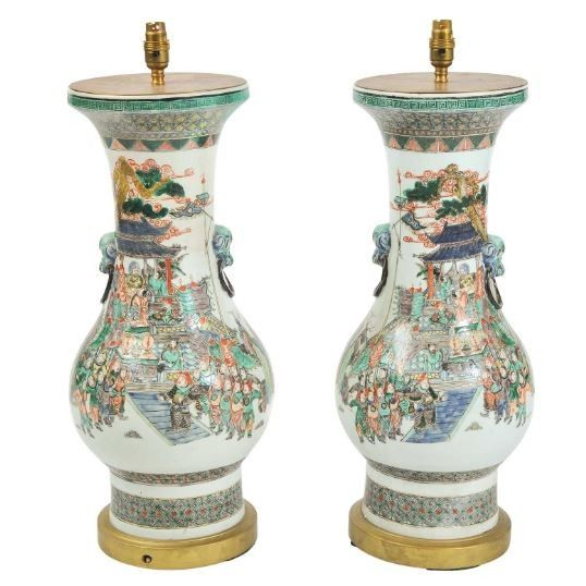 Pair Famille Verte Chinese lamps, 19th Century.