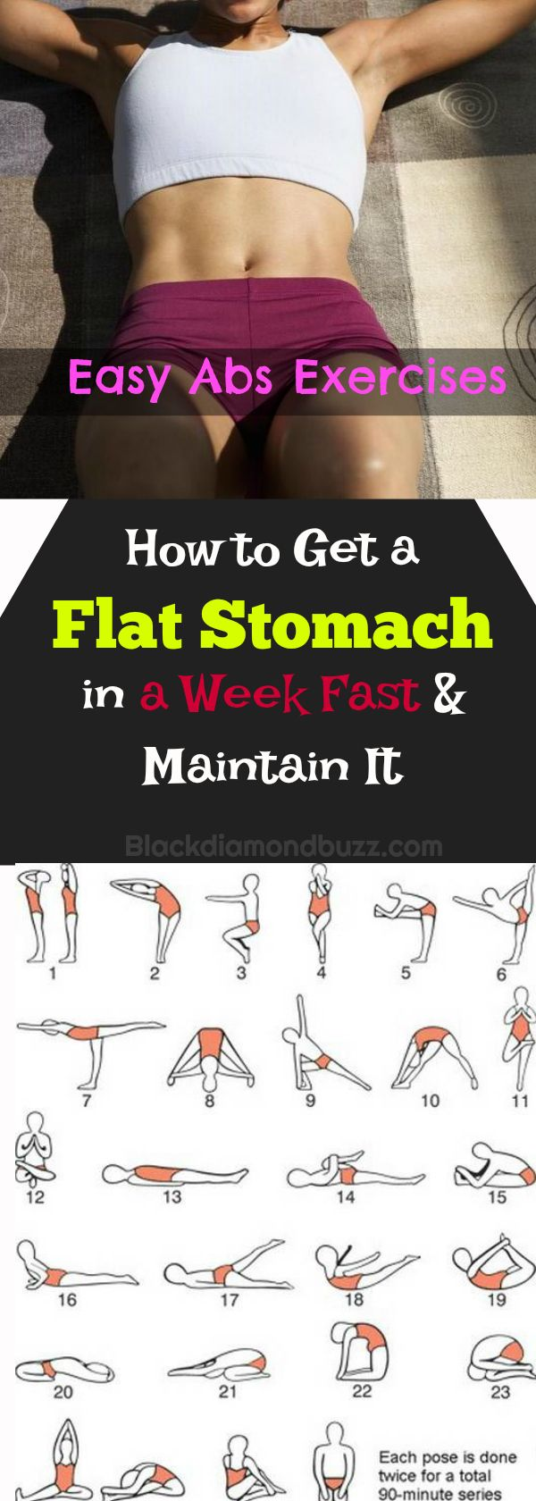 How to Get a Flat Stomach in a Week Fast and Maintain It with easy abs exercises and diet