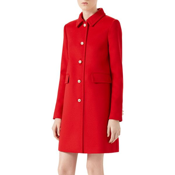 Gucci CT/SINGLE BREASTED WOOL COAT (115,485 PHP) ❤ liked on Polyvore featuring outerwear, coats, red, red coat, long sleeve coat, a line wool coat, red wool coat and gucci coat