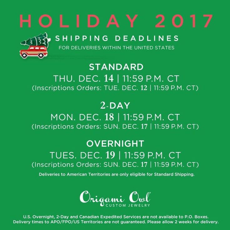 Origami Owl Holiday shipping dates