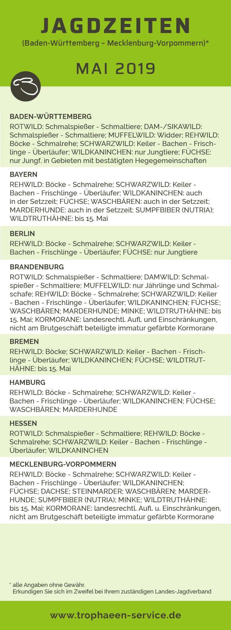 Jagdzeiten MAI 2019 (Baden (Württemberg Mecklenburg