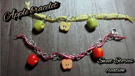 Apple bracelet - food miniature bracelet - polymer clay jewelry by Sweet Stories creation