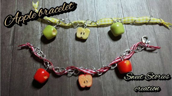 Apple bracelet - food miniature bracelet - polymer clay jewelry by Sweet Stories creation