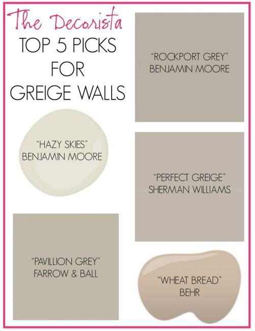 Paint Colors: Lots of grey & taupe colors at the link