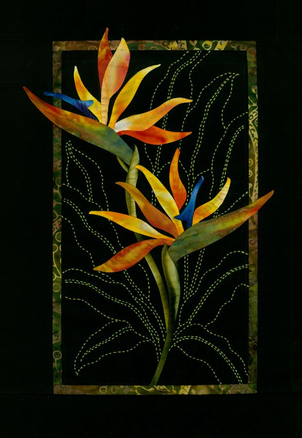 Bird of Paradise B.O.M. Sylvia Pippen.  Beautiful quilting which continues the story.  And the contrast with black makes these flowers glow!