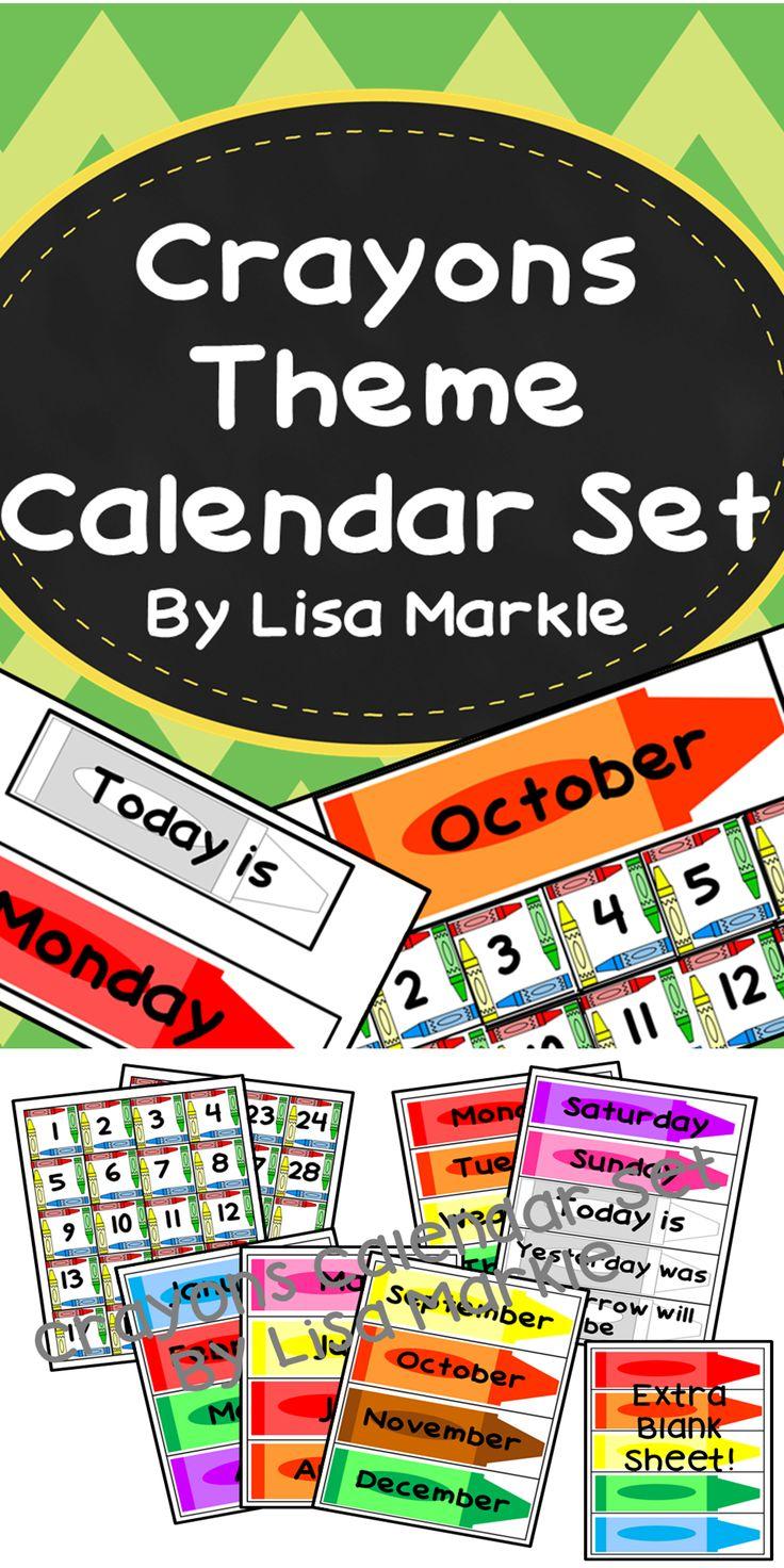 Classroom Calendar Sets : Crayons theme calendar set for classroom colors circles