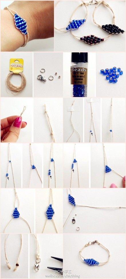 Bracelet avec des perles de rocaille