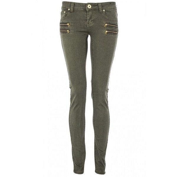 Khaki Gold Zip Front Skinny Jeans ($44) found on Polyvore