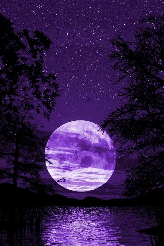 Purple Moon Pretty Purple Pinterest Purple Night