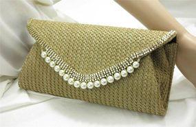 Beige Camel Straw Weave Faux Pearl Trim Clutch Evening Bag Purse