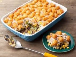 Tater Tot Hotdish Recipe - I call mine harvest hot dish and use 1/2 bag of frozen vegetable medley, 1 can cream of chicken and 1 can cheddar cheese soup and the topper is to replace plain tots with sweet potato tots!!  Yummy!